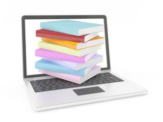 e-books on laptop