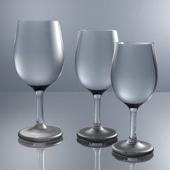 3d render crystal glasses