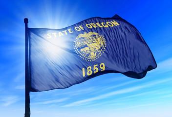 Oregon (USA) flag waving on the wind