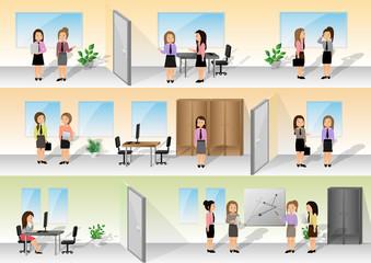 Businesswomen In Office Set - Vector Illustration