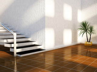 plant is standing near the stairs