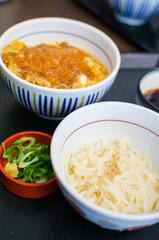 Deep fried pork rice with noodle set , Japanese food