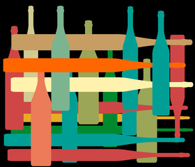 Background with bottles color1