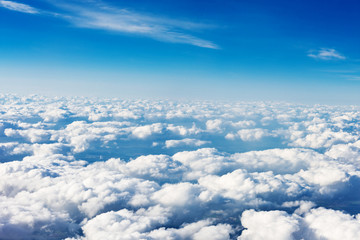 Keuken foto achterwand Hemel clouds. view from the window of an airplane flying in the clouds