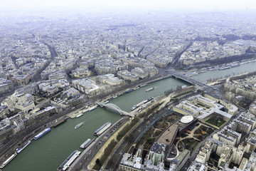 Panorama of river Seine with bridges in Paris from Eiffel tower