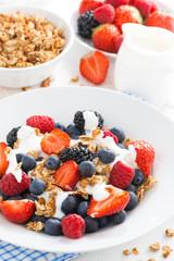 fresh berries, yogurt and muesli for breakfast, vertical
