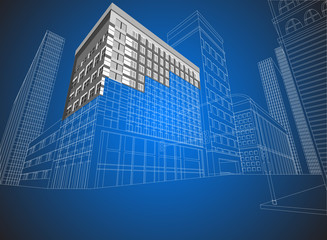 Townscape wireframe on a blue background
