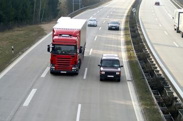 Fototapete - Autofahrt auf der Autobahn