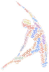 Word cloud illustration yoga related