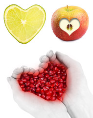 Collage of pictures with different hearts isolated on white