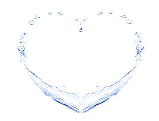 Water splashes in shape of heart, isolated on white