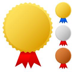 Gold, silver, bronze medals, badges vector graphics. Trophy, win