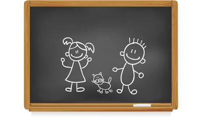 Tableau d'école : garçon et fille