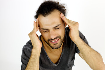 Man with very strong headache suffering