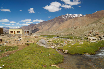 Landscape with mountain, rock and stream at Ladakh,  India