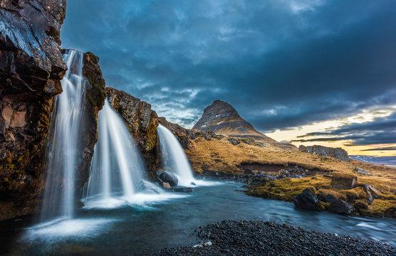 waterfalls and kirkjufell, sunrise, Iceland