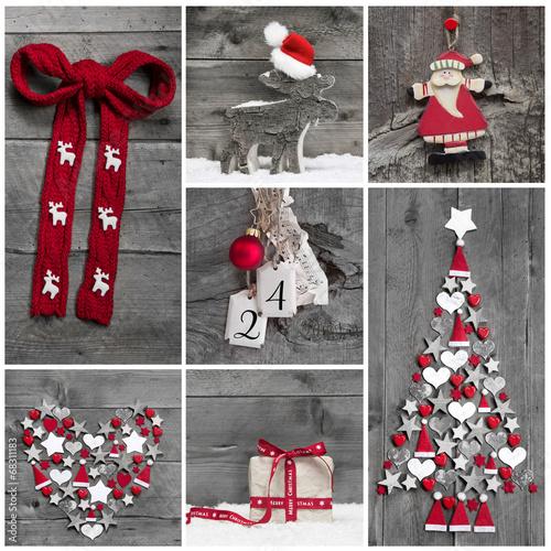 weihnachtsdekoration in rot wei und grau auf holz. Black Bedroom Furniture Sets. Home Design Ideas