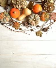 Pumpkins with dried hydrangeas