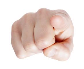 Fototapeta Hand pointing at you on white background obraz