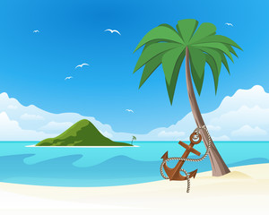 Anchor leaning against the palm on tropical white sand