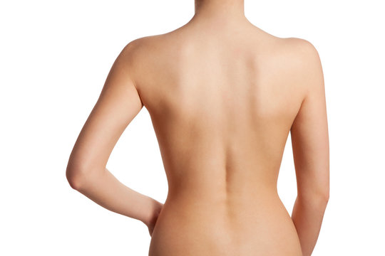 Beautiful and naked female back view