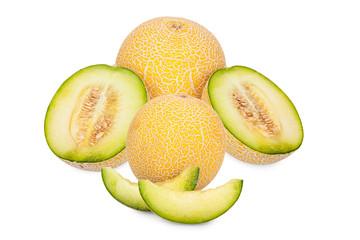 Galia Cantaloupe Melone ganz, halbiert und Stücke