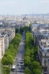 Paryż widom z Łuku Triumfalnego maja 2014