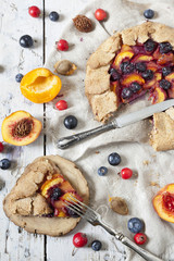 wholemeal french galette with blueberries peaches apricots