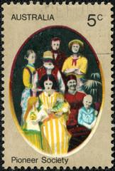 stamp from Australia illustrating Pioneer life in Australia