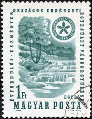stamp printed in the Hungary shows Waterfall and Forest