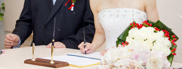 Registration of marriage in the wedding palace