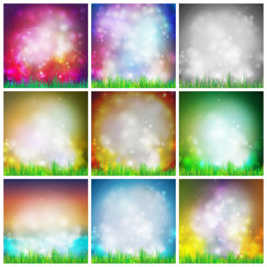 Set of abstract background with grass vector illustration.