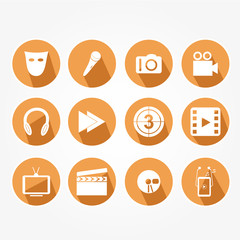 Set of the main icons of the fun - orange