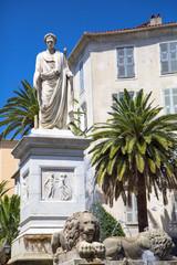 Foch square and bonaparte statue in in Ajaccio