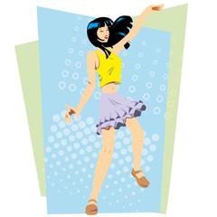Lovely oriental girl happy dancing funky