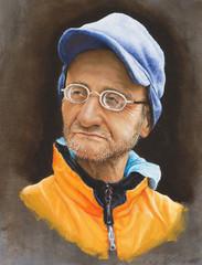 dipinto di un uomo con occhiali e berretto celeste