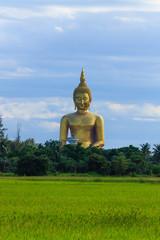 Ancient Big Buddha Image in the Field at Muang Temple , Ang Thon