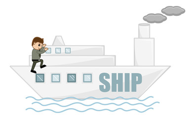 Cartoon Character - Ship Voyage
