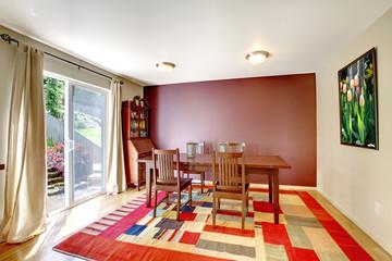 Contrast wall dining room interior