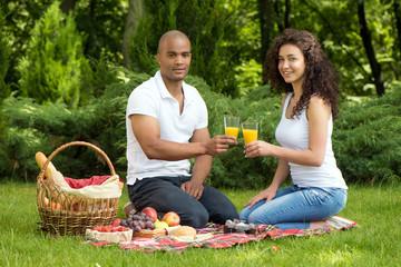 Happy romantic couple enjoying picnic in a park