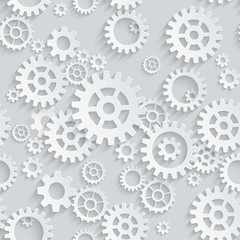 Vector seamless gears 3d mechanical pattern