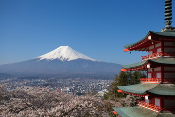 View of mountain fuji in spring season from chureito pagoda at Kawaguchiko , Yamanashi prefecture
