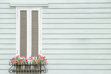 European style window and flower