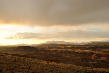 landscape of mountains at sunset, wyoming, usa
