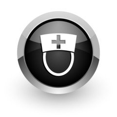 nurse black chrome glossy web icon