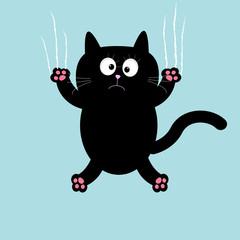 Cartoon black cat claw scratch glass background.