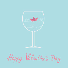 Origami paper boat and heart wave  wine glass Valentines day