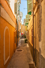 Narrow streets of historical city center of Kerkyra