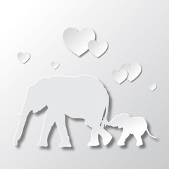 Elephants Mom and Son Love and Caring