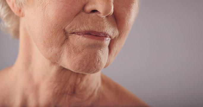 Senior female face with wrinkled skin